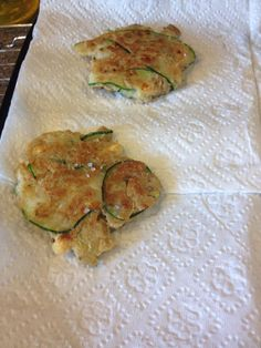 Fun experimenting today.  Carol's Italian mother in law makes zucchini fritters and I can eat an entire platter so she thought she would try to make it SOS style. They're different than the real thing but a great substitute!   1 cup thinly sliced zucchini 1 cup oat flour 1/2 cup egg whites Seasoning to taste. (Garlic powder, salt, oregano, basil)  Her recipe calls for Parmesan cheese. I added fat free feta instead (phase 2)  No protein but this would be a great side to a steak.
