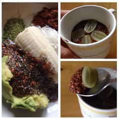 Vegan pudding power ;-) : platano, aguacate, chia, linaza, stevia y cacao