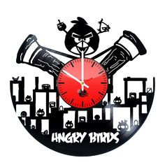Angry Birds Handmade Vinyl Record Wall Clock Fan Gift - VINYL CLOCKS