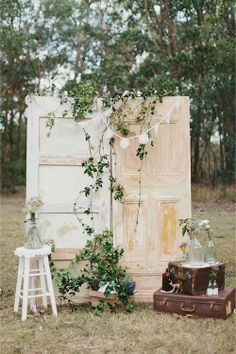 rustic ceremony styling french doors with vintage suitcases - ceremony wedding styling gorgeousness!