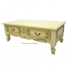 Elsa 4 Drawer French Coffee Table   Ivory