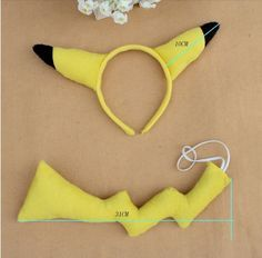 Free shipping Animal set Anime Pokemon PIKACHU EAR HAIR headband headwear tail TAIL COSTUME PARTY SET