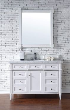 "Brittany 48"" Cottage White Single Vanity with Carrara White Stone Top"