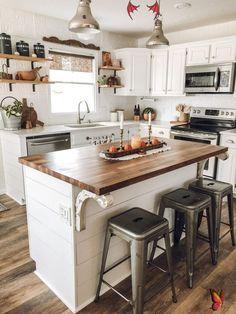 Butcher Block Kitchen Island  <br> Small Cottage Kitchen, Farmhouse Kitchen Island, Home Decor Kitchen, Home Kitchens, Kitchen Rustic, Kitchen Reno, Kitchen Island For Small Kitchen, Kitchen Sinks, Small House Kitchen Ideas