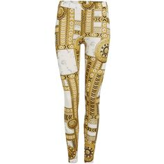 Versace Jeans Printed leggings ($195) ❤ liked on Polyvore featuring pants, leggings, white, women, white trousers, versace, white stretch pants, stretch leggings and versace pants