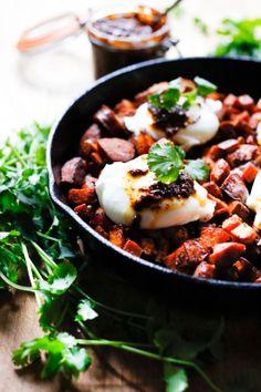 HARISSA SWEET POTATO HASH w/ Merguez Sausage and Eggs