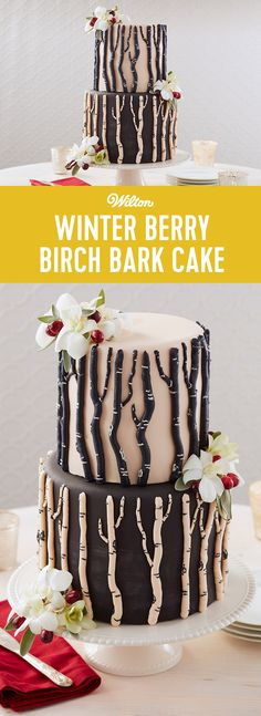 Whether you're celebrating a winter wedding or birthday, this beautiful Winter Berry Birch Bark Cake is sure to be a crowd-pleaser. Decorated with fondant and buttercream branches, this 2-tier cake also features beautiful orchids, sage leaves and cranberries, making it a great addition to a winter party or celebration. #wiltoncakes #weddingideas #fondant #cakedecorating #cakedesign
