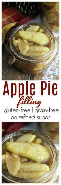 Homemade Apple Pie Filling - this pie filling is naturally sweetened without refined sugar, is incredibly easy to make and is wonderful for fall desserts and pies. #norefinedsugar #applepie #apples