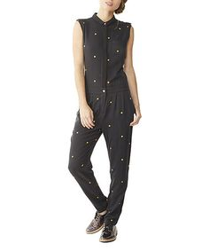 8ed271b1850c Alternative Apparel Black Ditsy Peach Rayon Twill Jumpsuit