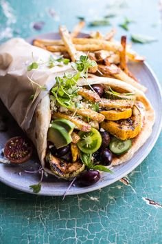 Grilled Zucchini Gyros with Sun-Dried Tomato Tzatziki. (Half Baked Harvest). If there ever was a wrap king, this would be it. –I Quit Sugar