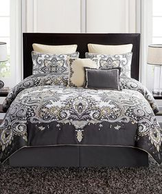 Gray & Yellow Istanbul Five-Piece Comforter Set