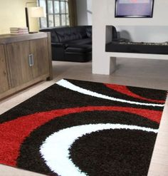 Number 1 Supreme Black White Red Thick Hand Made Modern Floor Rug Area