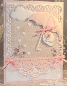 Stamps - Our Daily Bread Designs: Mini Tag Sentiments, ODBD Shabby Rose Paper Collection, ODBD Custom Dies: Umbrellas, Mini Tags, Clouds and Raindrops, Doily, Beautiful Borders, Layered Lacey Squares