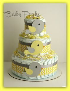 Yellow and Grey Diaper cake   Bird Diaper Cake ...