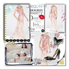 """BCBG Chiffon Jourdan V Neck Floral Print Runway Dress"" by evermissjody ❤ liked on Polyvore featuring BCBGMAXAZRIA, Christian Louboutin and Manic Panic"