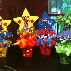 Superhero party centerpieces for my sons 2nd bday :)
