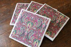 multi-colored damask coasters...$6.00 @ etsy.com