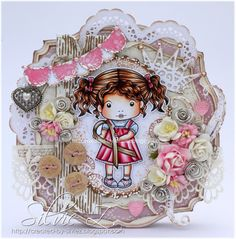 Card with Awareness Ribbon Marci by Silvie - from La-La Land Crafts blog.