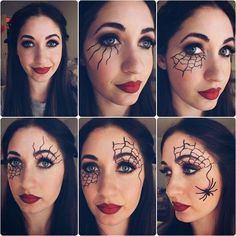 Easy-Step-By-Step. - You are in the right place about Eye iDeas photo Here we offer you the most beautiful pictures about the Eye iDeas make up you are looking for. When you examine the Easy-Step-By-Step-Halloween-Augen-Make-up-Tutorials Halloween Spider Makeup, Yeux Halloween, Spider Web Makeup, Halloween Eyes, Halloween Makeup Looks, Spider Witch Makeup, Creepy Halloween, Simple Witch Makeup, Halloween Makeup Tutorials