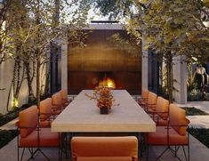 A modern autumnal table outdoors.