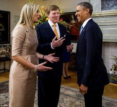 3/25/14. King Willem-Alexander looks on as Queen Maxima and Obama share a light moment last night