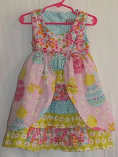 JELLY the PUG Sz 2T Hannah Dress Easter Eggs Chicks Pink Yellow Blue Ruffles #JellythePug #DressyEverydayHoliday