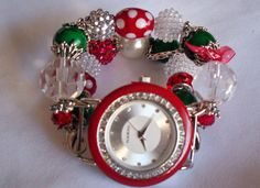 Christmas Beaded Watch Band and Face  by BeadsnTime on Etsy, $30.00
