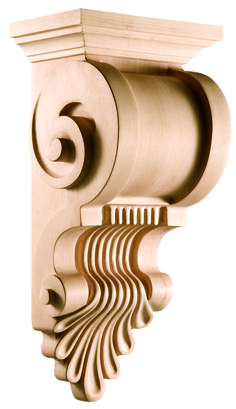 Modern Classic Collection, Modern Corbel, 9 x 19 x 7 - Holzarbeiten Classic House, Modern Classic, Cornice Design, Wood Furniture Legs, Temple Design, Wood Carving Designs, Decorative Mouldings, Ceiling Medallions, Ceiling Design