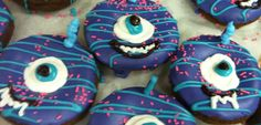 one eyed one horned flying purple people eater donuts Halloween Donuts, Purple Halloween, Delicious Donuts, Horde, Food Themes, Hand Designs, Fun Desserts, Baked Goods, Holiday Ideas