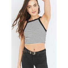 Cooperative by Urban Outfitters Urban Outfitters Cropped Striped Tank... ($23) ❤ liked on Polyvore featuring tops, bodycon crop top, stripe tank top, crop tank top, black white striped top and stripe tank