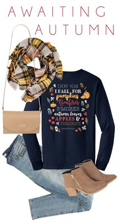 Your new favorite t-shirt! This ADORABLE Monogrammed Fall T-Shirt is going fast, so get yours now at wear it all season long! AND, get this blanket scarf FREE when you spend $75! Only at Marleylilly.com!
