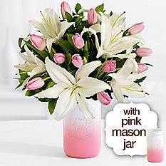 Mother's Day Bouquet with Pink Ombre Mason Jar