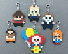 Geeky Party Favors I Gamer Gifts I Nerd Accessories by MadamFANDOM Perler Bead Templates, Diy Perler Beads, Perler Bead Art, Pearler Beads, Fuse Beads, Melty Bead Patterns, Hama Beads Patterns, Beading Patterns, Pixel Art