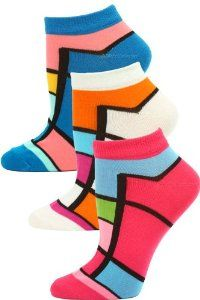 Jaze Women's Bright Geometric Low Cut Socks - 3 Pairs - Pink/Ivory/Blue Multi by Yelete. $6.95. Why choose boring white socks when you can look on the brighter side? Our Jaze Women's Bright Geometric Low Cut Socks have a Mondrian-esque geometric print combining bold and bright colors to really pop. These soft and stretchy women's low cut socks will just peek out from above your sneakers. Each package comes with 3 pairs of women's low cut socks (choices shown). Made ...