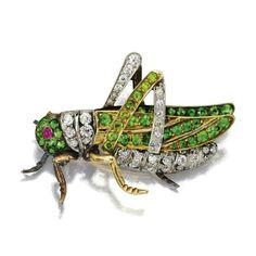 Demantoid Garnet and diamond 'grasshopper' brooch, circa 1900