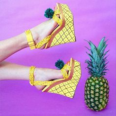 I mean I love pineapple in absolutely every single way shape or form but seriously these are just down right ugly Wedge Sandals, Wedge Shoes, Mellow Yellow, Crazy Shoes, Cute Shoes, Designer Shoes, Elegant, Shoe Boots, Cute Outfits