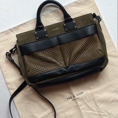 NWOT*Rag and Bone Medium Pilot Purse *2x PM Editor Share*2x Host Pick* Authentic. Never used. Studded leather and suede in a moss and black. There are a few light scuff marks from in-store handling before it was purchased. Dust bag included. rag & bone Bags