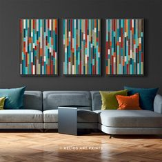 Set of 2 Mid Century Abstract Watercolor Prints. Two Piece Watercolour in Turquoise, Teal, Orange, O