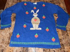 M Quacker Factory 3D Bunny Love Crewneck Tunic Sweater Royal Blue Easter Rabbit | eBay $19.99