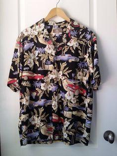 1ef2eb99 Hawaiian Shirt VINTAGE Kaleheo HAWAIIAN Shirt 1950s Cars and Island Roads  Men's XL Black Hawaiian Shirt