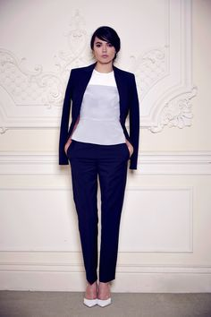 Veneuve SS14 - Navy Waisted Blazer, Two Tone Top, and Cropped Pants, Suit