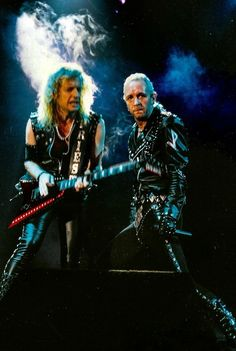 K.K. Downing & Rob Halford Heavy Metal Art, Heavy Metal Bands, Judas Priest, Great Bands, Cool Bands, Eighties Music, Metal Music Bands, Rob Halford, Defender Of The Faith