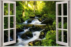 3D-Effect-Window-View-Warefall-Nature-Trees-Sticker-Wall-Poster-Vinyl-GA1-353