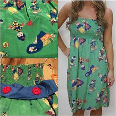 """✨NWT✨ Voom Joy Han Small World Characters Dress Really fun strapless dress from Voom by Joy Han with whimsical small world characters prints all over. Had a belt loop with big red buttons and stretch tub top. No flaws. Measured about 28"""" length, 10"""" not stretched waist. Tag size is X-small but stretchy material on top so probably can fit normal small. ❌No trades or modeling. Always open to reasonable offers. Thank you‼️ Voom Joy Han Dresses Strapless"""