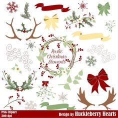Holiday Clipart, with Antlers, Holly, Flowers, Banners