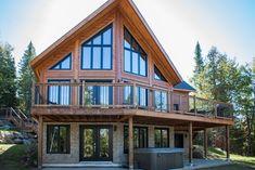 Vacation House in Sainte-Marguerite-du-Lac-Masson A Frame House Plans, New House Plans, Mountain Home Exterior, Mountain Home Plans, Mountain Cabins, Cabin Design, House Design, Plan Chalet, Lakeside Cottage
