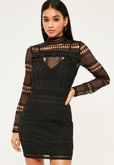 Black lace bodycon dress wallis