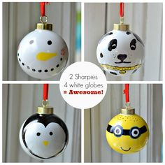 Sharpie Christmas Ornaments. 2 Sharpies and 4 plain ornaments are all you need to create these! balls, gift, christmas crafts, diy ornaments, penguin, christmas ornament crafts, christma ornament, christmas ornaments, kid