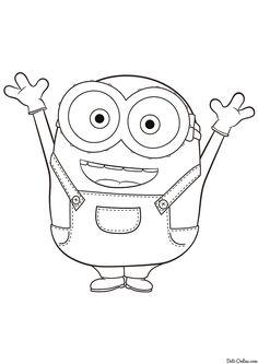 Раскраска Миньон Боб Minion Coloring Pages, Disney Coloring Pages, Coloring Pages For Kids, Coloring Books, Coloring Sheets, Minion Drawing, Minion Art, Disney Drawings, Cartoon Drawings