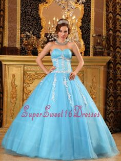 Popular Aqua Blue Sweet 16 Dress Sweetheart Tulle Appliques Ball Gown
